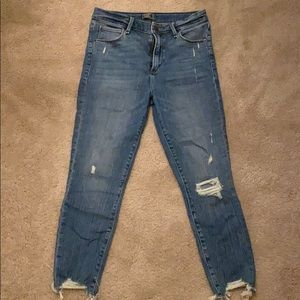 Skinny high rise destroyed ankle jeans